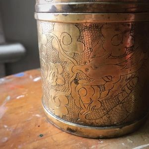 Accents - Antique Brass Chinese Dragon Tea/Snuff Caddy Box